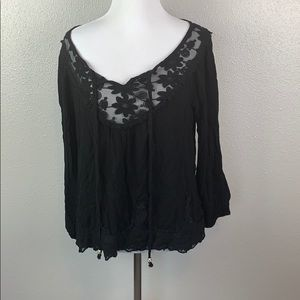 Black floral lace blouse small